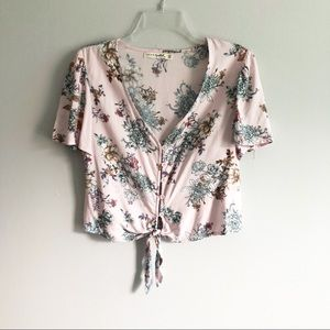 Live to be spoiled pink floral crop XS